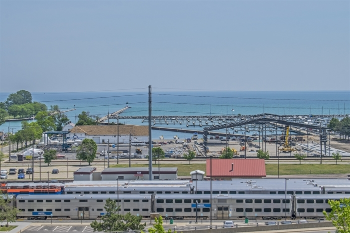 Train tracks run perpendicular to Waukegan's lakeshore