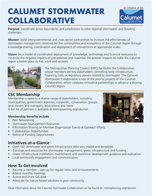 Calumet Stormwater Collaborative purpose, mission and vision statement