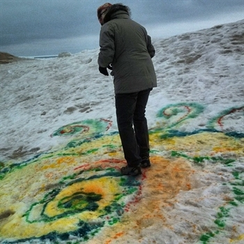 Colorful painting on ice