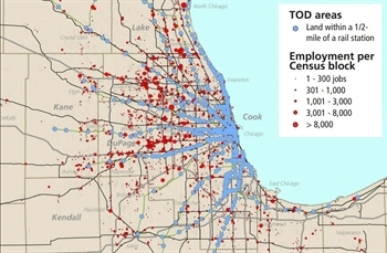Map of the Chicago region showing TOD areas and employment per Census block