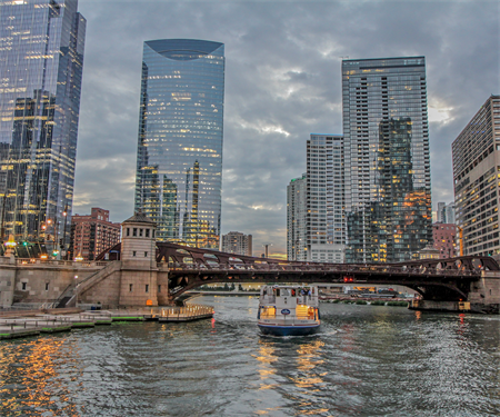 A summer night on the South Branch: Great Rivers Chicago partners cruise the Chicago River